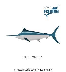 Blue marlin. Sea fishing. Vector illustration