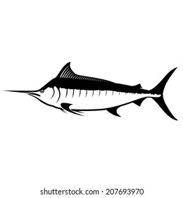 Blue Marlin Silhouette Isolated on White