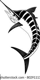 Blue Marlin. Simple minimalistic vector illustration of black-and-white swordfish