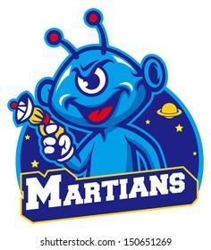 Blue martian hold a laser gun