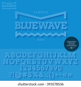 Blue mat logotype with shadow for yacht club. Vector set of letters and numbers