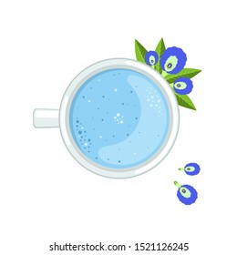 Blue matcha tea with leaves and flower of the clitoris. Cup with a drink-the view from the top. Vector illustration