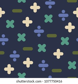 Blue Mathematical Operations Seamless Pattern - Mathematical operations of addition, subtraction, multiplication, and division on dark blue background seamless pattern