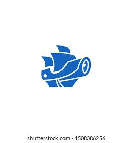 Blue Mayflower Pirate Ship with CCTV Security Camera Logo Design Vector