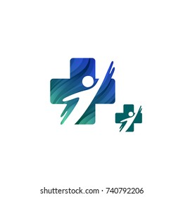 Blue Medical Cross Symbol with Health Human Silhouette. Vector Template Logo Concept. Icon Design for Rehab Centers and Medical Clinics.