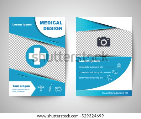 blue medical flyer layout template brochure のベクター画像素材
