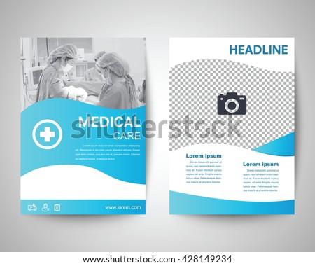 blue medical flyer template brochure background stock vector