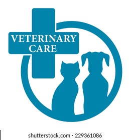 blue medical veterinary round sign with pet