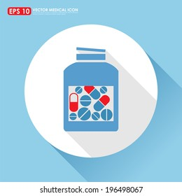 Blue medicine bottle - medical vector icon