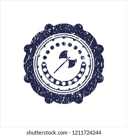 Blue medieval axe icon inside distress rubber seal with grunge texture