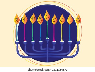 Blue Menora and Nine candles with different face expressions, Dark Blue Circle and Light Yellow background