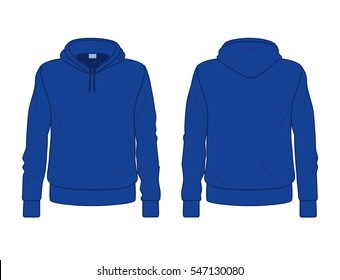 Blue men's hoodie template, front and back view