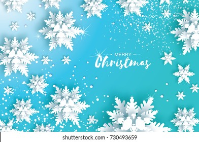 Blue Merry Christmas Greetings card. White Paper cut snow flake. Happy New Year Decoration. Winter snowflakes background. Seasonal holidays. Snowfall. Text. Blue background. Vector