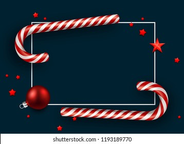 Blue Merry Christmas and Happy New Year card with red Christmas ball, stars and candy canes. Vector background.