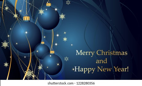 Blue Merry Christmas and Happy New Year background with Christmas decoration, ribbons, snowflakes and stars. Greeting card and Ecard vector banner invitation