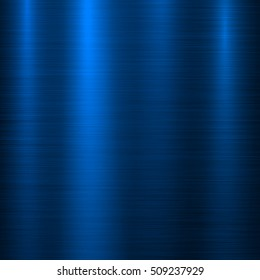 Blue metal abstract technology background with polished, brushed texture, chrome, silver, steel, aluminum for design concepts, web, prints, posters, wallpapers, interfaces. Vector illustration.