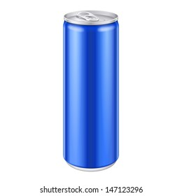 Blue Metal Aluminum Beverage Drink Can 250ml. Mockup Template Ready For Your Design. Isolated On White Background. Product Packing. Vector EPS10 Product Packing Vector EPS10
