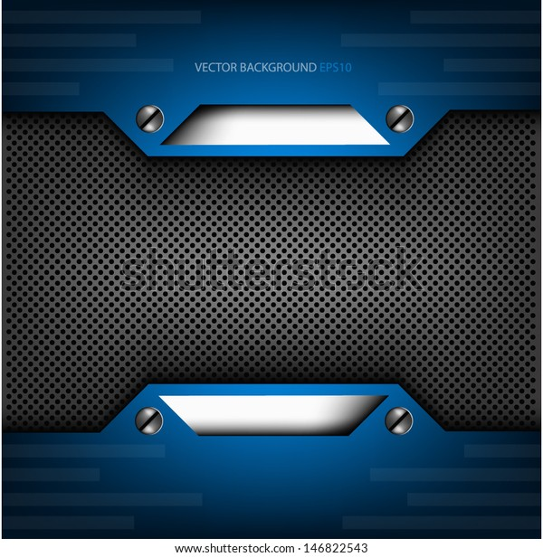 Blue Metal Background Text Message Design Stock Vector (Royalty Free