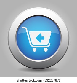 blue metal button - with white shopping cart back