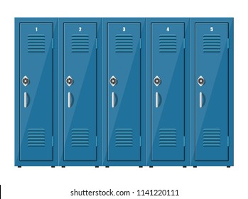 Blue metal cabinets. Lockers in school or gym with silver handles and locks. Safe box with doors, cupboard, compartment. Vector illustration in flat style