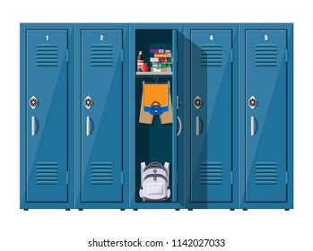 Blue metal cabinets. Lockers in school with silver handles and locks. Safe box with doors, cupboard, compartment. Books, food, clothes and backpack inside. Vector illustration in flat style