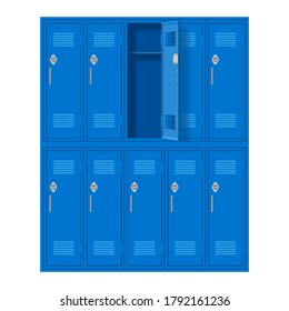 Blue Metal Cabinets with One Open Door. Lockers in School or Gym with Handles and Locks. Safe Box with Doors, Cupboard, and Compartment on White Background
