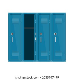 Blue metal cabinets school or gym with Combination Locks. Colorful interior.