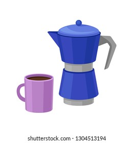 Blue metal moka pot and purple cup of fresh coffee. Delicious morning beverage. Tasty hot drink. Flat vector design