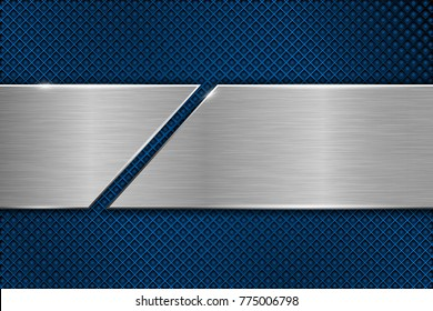 Blue metal perforated background with cut brushed plate. Vector 3d illustration