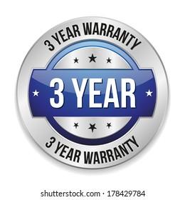Blue metallic three year warranty button