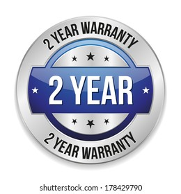 Blue metallic two year warranty button