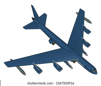 Blue millitary airplane with missiles vector illustration on white background