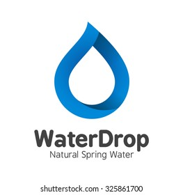 Blue Mineral Bottled Spring Water Drop logo template