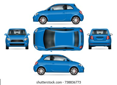 Blue mini car vector mock-up for advertising, corporate identity. Isolated template of  the small car on white. Vehicle branding mockup. Easy to edit and recolor. View from side, front, back and top.