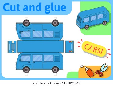 Blue minibus paper model. Small home craft project, DIY paper game. Cut out, fold and glue. Cutouts for children. Vector template.