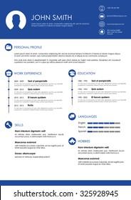 Blue minimalistic personal vector resume - cv template