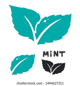Blue mint leave icon on white. Mint leaves vector logo. Two leaves of a mint with one color black version.