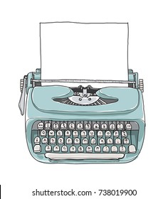 blue Mint vintage  typewriter portable retro with paper hand drawn vector art illustration