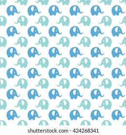 blue, mint & white elephants pattern, seamless texture background