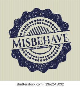 Blue Misbehave distressed grunge style stamp