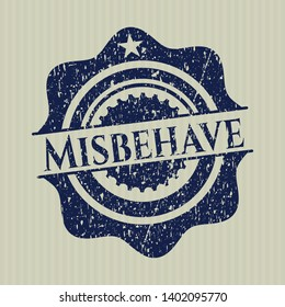Blue Misbehave distressed rubber stamp with grunge texture