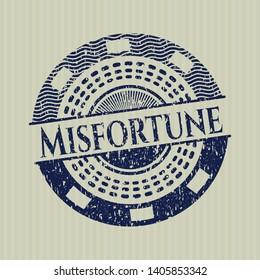 Blue Misfortune rubber grunge stamp