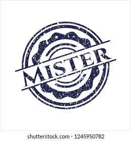 Blue Mister distress rubber stamp with grunge texture