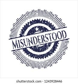 Blue Misunderstood distressed grunge seal