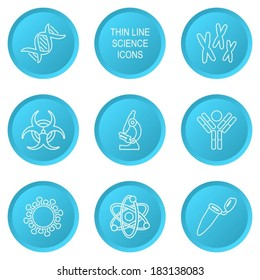 Blue modern circle thin line biology science icons