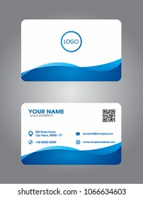 Blue modern creative business card and name card,horizontal simple clean template vector design, layout in rectangle size and round corner