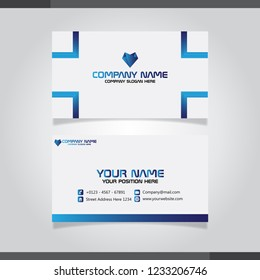 Blue modern creative business card and name card