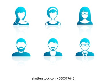 Blue modern men and women icons with reflection