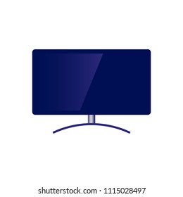 Blue modern television set with wide flatscreen icon. Didital technologies and media entertainment display and broadcasting equipment. Vector flat isolated illustration