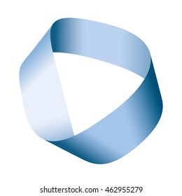 Blue Moebius strip or Moebius band.  Surface with only one side and one boundary. Mathematical non orientable. Take a paper strip and give it a half twist, then join the strip ends to form the loop.